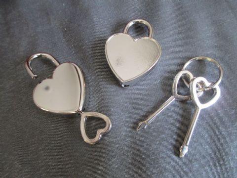 Pair of Heart Shaped Padlocks and Keys